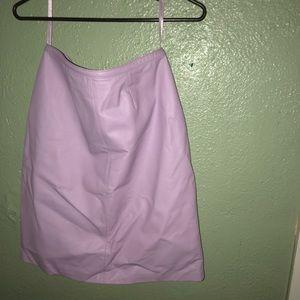 Lilac/lavender leather suit.
